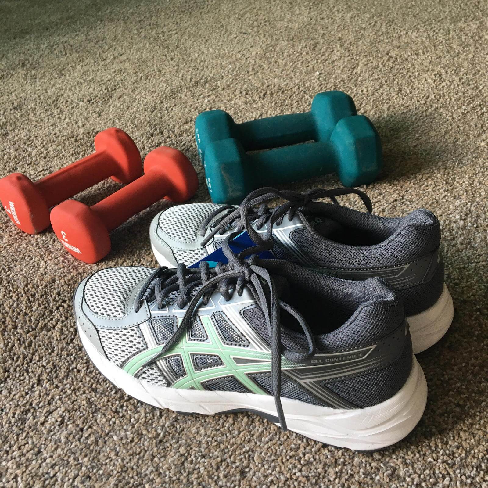sneakers and free weights